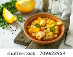 turkey stew with pumpkin ... | Shutterstock . vector #709623934
