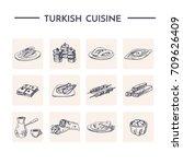 turkish cuisine.vector isolated ...   Shutterstock .eps vector #709626409