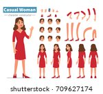 casual woman character... | Shutterstock .eps vector #709627174