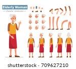 casual elderly woman character... | Shutterstock .eps vector #709627210