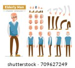 casual elderly man character... | Shutterstock .eps vector #709627249