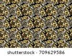golden pattern on black... | Shutterstock . vector #709629586