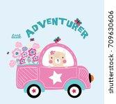 Stock vector adventurer animal on road illustration vector for kids print 709630606