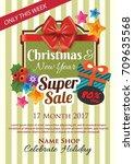 green vintage christmas poster... | Shutterstock .eps vector #709635568