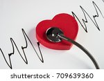 medical stethoscope and red...   Shutterstock . vector #709639360