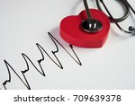 medical stethoscope and red...   Shutterstock . vector #709639378
