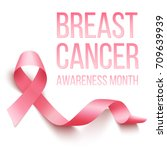 realistic pink ribbon  breast... | Shutterstock .eps vector #709639939