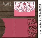 laser cut wedding invitation... | Shutterstock .eps vector #709640254