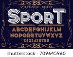 vintage font alphabet...   Shutterstock .eps vector #709645960