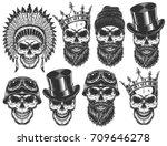 set of different skull... | Shutterstock . vector #709646278