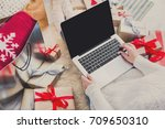 christmas online shopping  top... | Shutterstock . vector #709650310