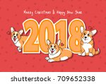 merry christmas   happy new... | Shutterstock .eps vector #709652338