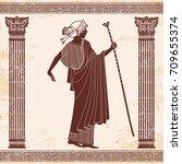 vector illustration in ancient... | Shutterstock .eps vector #709655374