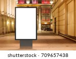 blank street billboard at night ... | Shutterstock . vector #709657438