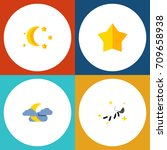 flat icon bedtime set of... | Shutterstock .eps vector #709658938