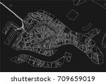black and white vector city map ... | Shutterstock .eps vector #709659019