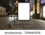 blank street billboard at night ...   Shutterstock . vector #709660309