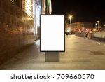 blank street billboard at night ... | Shutterstock . vector #709660570