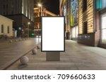 blank street billboard at night ... | Shutterstock . vector #709660633