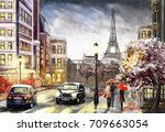 oil painting on canvas  street... | Shutterstock . vector #709663054