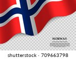 waving flag of norway on... | Shutterstock .eps vector #709663798