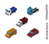 isometric transport set of car  ...