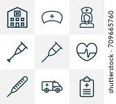 medicine outline icons set....   Shutterstock .eps vector #709665760