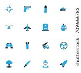 warfare colorful icons set.... | Shutterstock .eps vector #709666783
