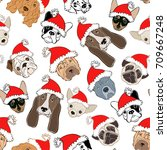 seamless pattern with dog's... | Shutterstock .eps vector #709667248