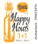 happy hours poster. vector... | Shutterstock .eps vector #709673374