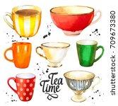 tea party set on white... | Shutterstock . vector #709673380