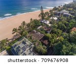 aerial view of oceanfront homes ...