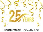 isolated golden color number 25 ... | Shutterstock .eps vector #709682470