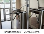 turnstile limits the passage | Shutterstock . vector #709688296