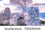 hurricane destroys miami beach. ... | Shutterstock . vector #709690444