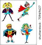 Retro Superheroes Colorful Set (vector) - stock vector