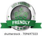 green eco frendly label button | Shutterstock . vector #709697323