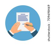 colored cartooned hand signing... | Shutterstock .eps vector #709698469