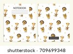 notebook cover with cute animal ... | Shutterstock .eps vector #709699348