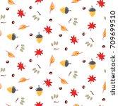 autumn foliage seamless vector... | Shutterstock .eps vector #709699510