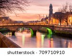 grattan bridge in dublin ... | Shutterstock . vector #709710910