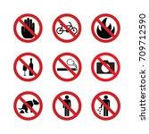 prohibition signs  no symbols... | Shutterstock .eps vector #709712590