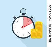 stopwatch and money icon. time... | Shutterstock .eps vector #709715200