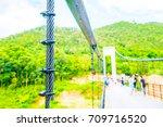 sling of suspension bridge at... | Shutterstock . vector #709716520