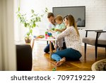 little boy playing toys with...   Shutterstock . vector #709719229