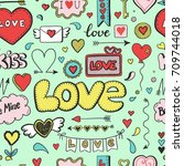 hand drawn doodle love seamless ... | Shutterstock .eps vector #709744018