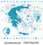 greece map and navigation icons.... | Shutterstock .eps vector #709746250