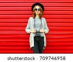 fashion autumn portrait smiling ... | Shutterstock . vector #709746958