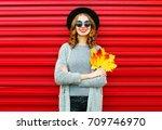 fashion autumn portrait smiling ... | Shutterstock . vector #709746970
