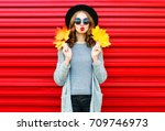 fashion autumn portrait woman... | Shutterstock . vector #709746973
